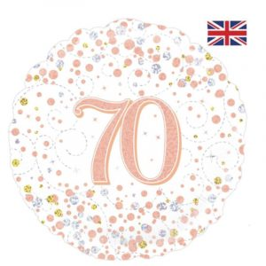 18 inch Age 70 White and Rose Gold Fizz Balloon