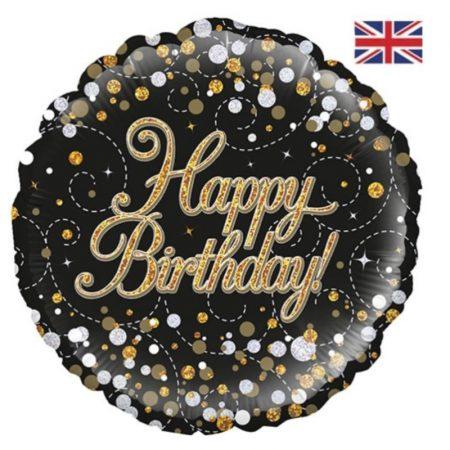 18 inch Happy Birthday Balloon Sparkling Fizz Gold