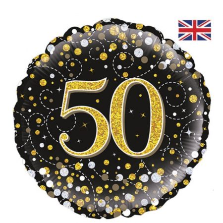 18 inch Age 50 Black and Gold Fizz Balloon
