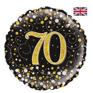 18 inch Age 70 Black and Gold Fizz Balloon