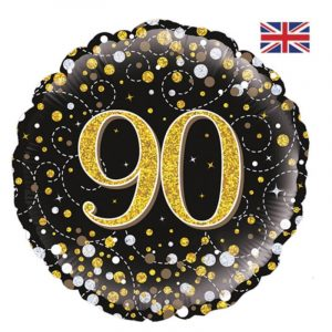 18 inch Age 90 Black and Gold Fizz Balloon