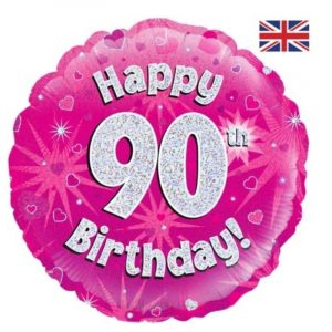 18 inch Happy Birthday Age 1-90 Balloon - Pink
