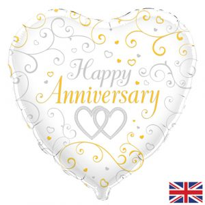18 inch Happy Anniversary - Gold and Silver Heart Balloon