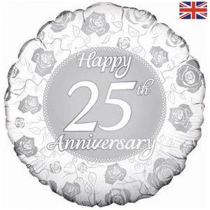 18 inch Happy 25th Anniversary - Silver Floral Balloon
