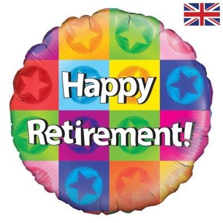 18 inch Happy Retirement Balloon - Multi-Coloured Squares
