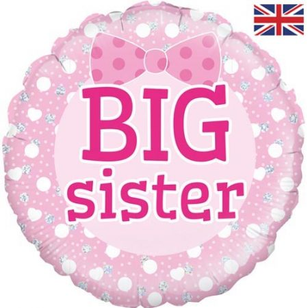 18 inch New Baby - Big Sister Pink Bow Balloon