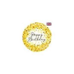 18 inch Happy Birthday Balloon Gold Sparkle