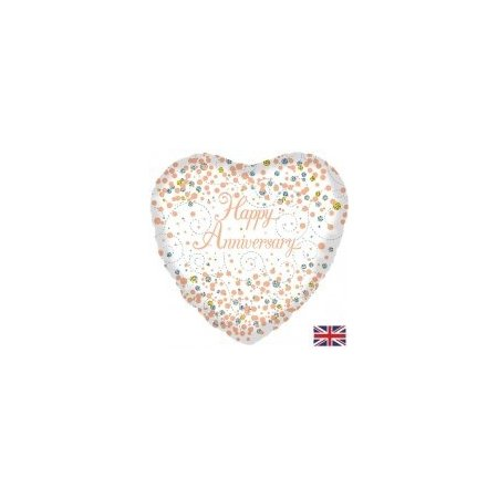 18 inch Happy Anniversary - Sparkling Fizz Rose Gold Heart Balloon