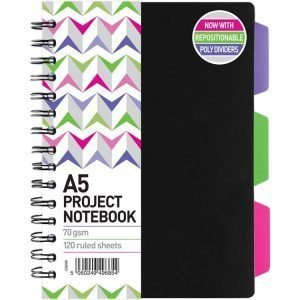 A5 Project Notebook with 3 Tabs