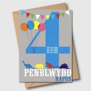 Penblwydd Hapus 4 Hip Hip Hwre Blue Card