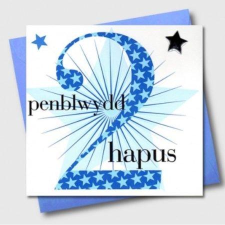 Penblwydd Hapus 2 Blue & Silver Star Card