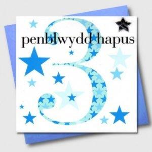 Penblwydd Hapus 3 Blue & Silver Star Card