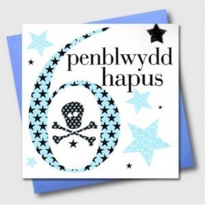 Penblwydd Hapus 6 Blue Skull & Crossbones Card