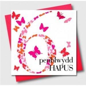 Penblwydd Hapus 6 Pink Butterflies Card