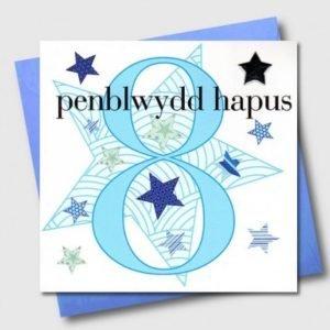 Penblwydd Hapus 8 Blue & Silver Star Card