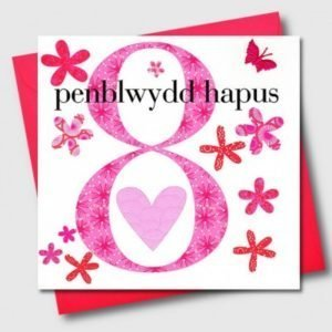 Penblwydd Hapus 8 Pink Flowers Card