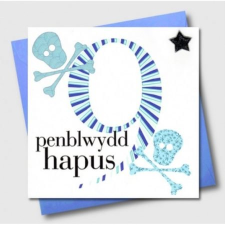 Penblwydd Hapus 9 Blue Skull & Crossbones Card