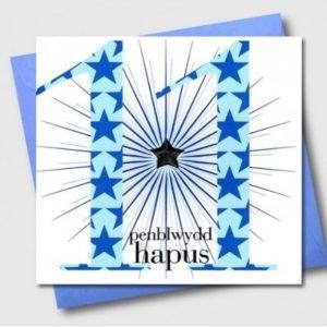 Penblwydd Hapus 11 Blue Stars Card
