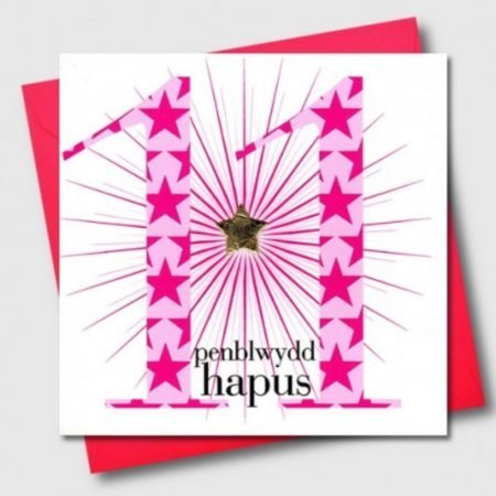 Penblwydd Hapus 11 Pink Stars Card