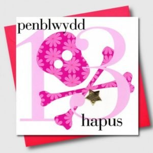 Penblwydd Hapus 13 Pink Skull & Crossbones Card