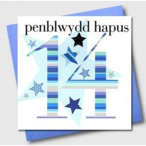 Penblwydd Hapus 14 Blue Stars Card