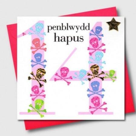 Penblwydd Hapus 14 Pink Skull & Crossbones Card