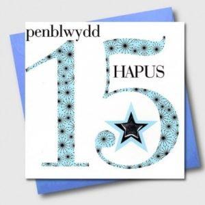 Penblwydd Hapus 15 Blue Stars Card