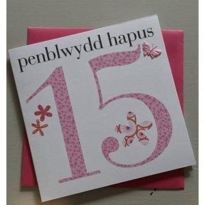 Penblwydd Hapus 15 Pink Flowers Card