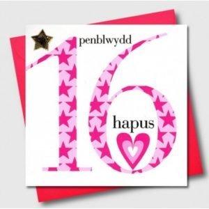 Penblwydd Hapus 16 Pink Stars Card