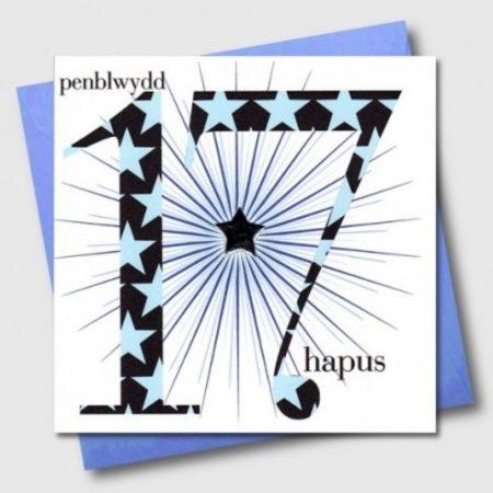 Penblwydd Hapus 17 Blue & Silver Star Card
