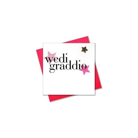 Wedi Graddio Pink Stars Card