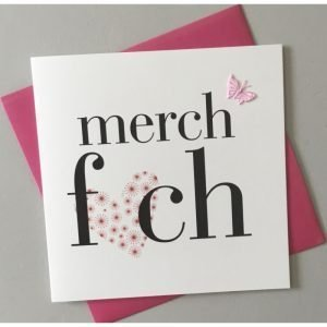 Merch Fach Pink Heart And Butterfly Card