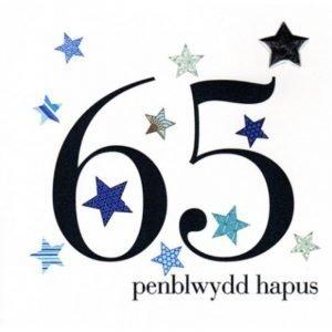 Penblwydd Hapus 65 Blue & Silver Stars Card