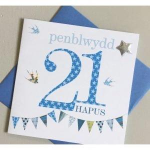 Penblwydd Hapus 21 Blue Bunting Card