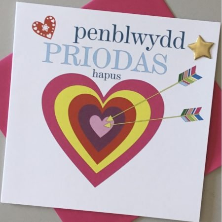 Penblwydd Priodas Hapus Pink Heart and Bow Card