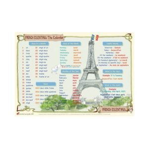 Educational Learning Mat A3 French Calendar
