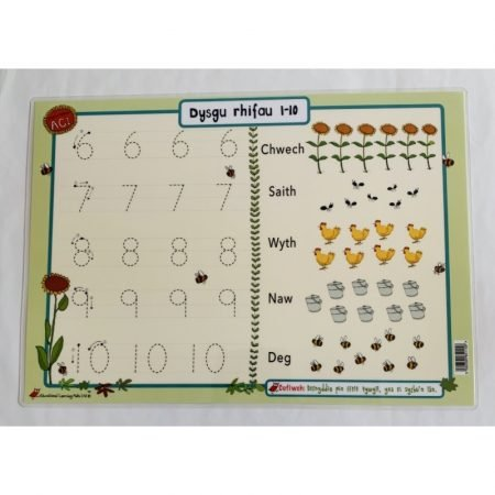 Welsh Educational Learning Mat A4 Numbers 1-10