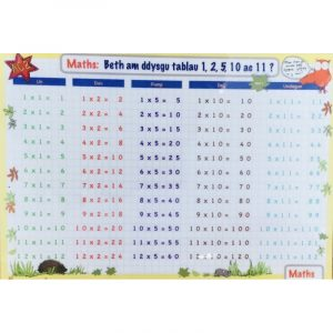 Welsh Educational Learning Mat A4 Times Tables 1,2,5,10,11