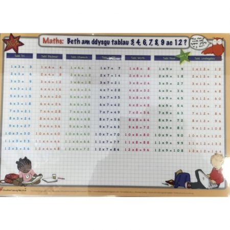 Welsh Educational Learning Mat A4 Times Tables 3,4,6,7,8,9,12