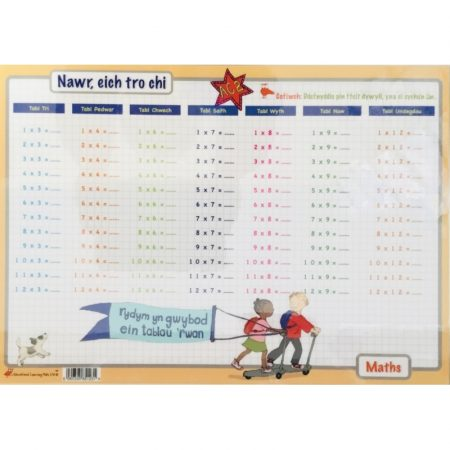 Welsh Educational Learning Mat A4 Times Tables 1-12