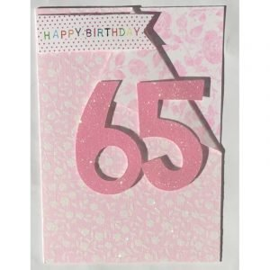 Happy Birthday 65 Pink Floral Card