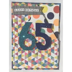 Happy Birthday 65 Coloured Spots Card