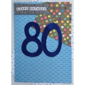 Happy Birthday 80 Blue Card