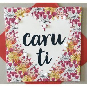 Caru Ti Flowers With Pom Poms Card
