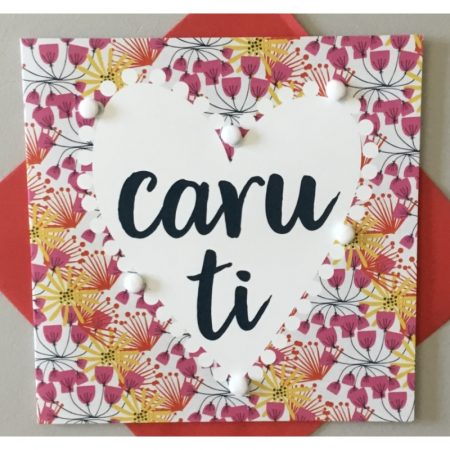 Caru Ti Flowers With Pom Poms Card