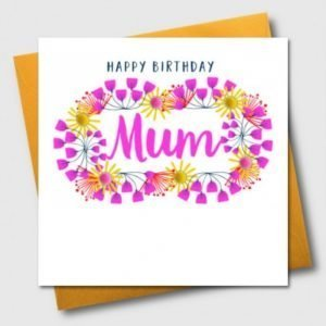 Happy Birthday Mum Pom Pom Card