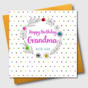 Happy Birthday Grandma Pom Pom Card