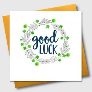 Good Luck Green Pom Pom Wreath Card