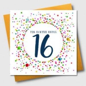 Penblwydd Hapus 16 Multicoloured Pom Pom Card