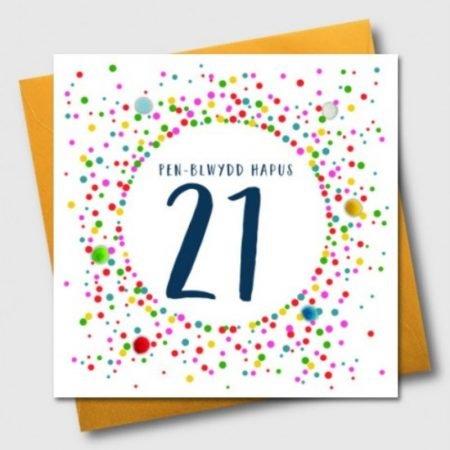 Penblwydd Hapus 21 Multicoloured Pom Pom Card